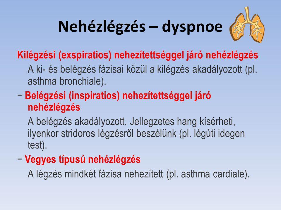 Nehézlégzés – dyspnoe Kilégzési (exspiratios) nehezítettséggel járó nehézlégzés A ki- és belégzés fázisai közül a kilégzés akadályozott (pl. asthma br
