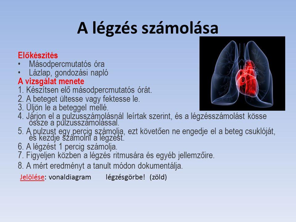 A légzés számolása Előkészítés Másodpercmutatós óra Lázlap, gondozási napló A vizsgálat menete 1. Készítsen elő másodpercmutatós órát. 2. A beteget ül