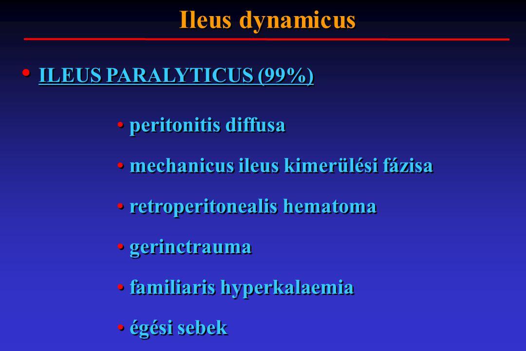 ILEUS PARALYTICUS (99%) Ileus dynamicus peritonitis diffusa mechanicus ileus kimerülési fázisa retroperitonealis hematoma gerinctrauma familiaris hyp
