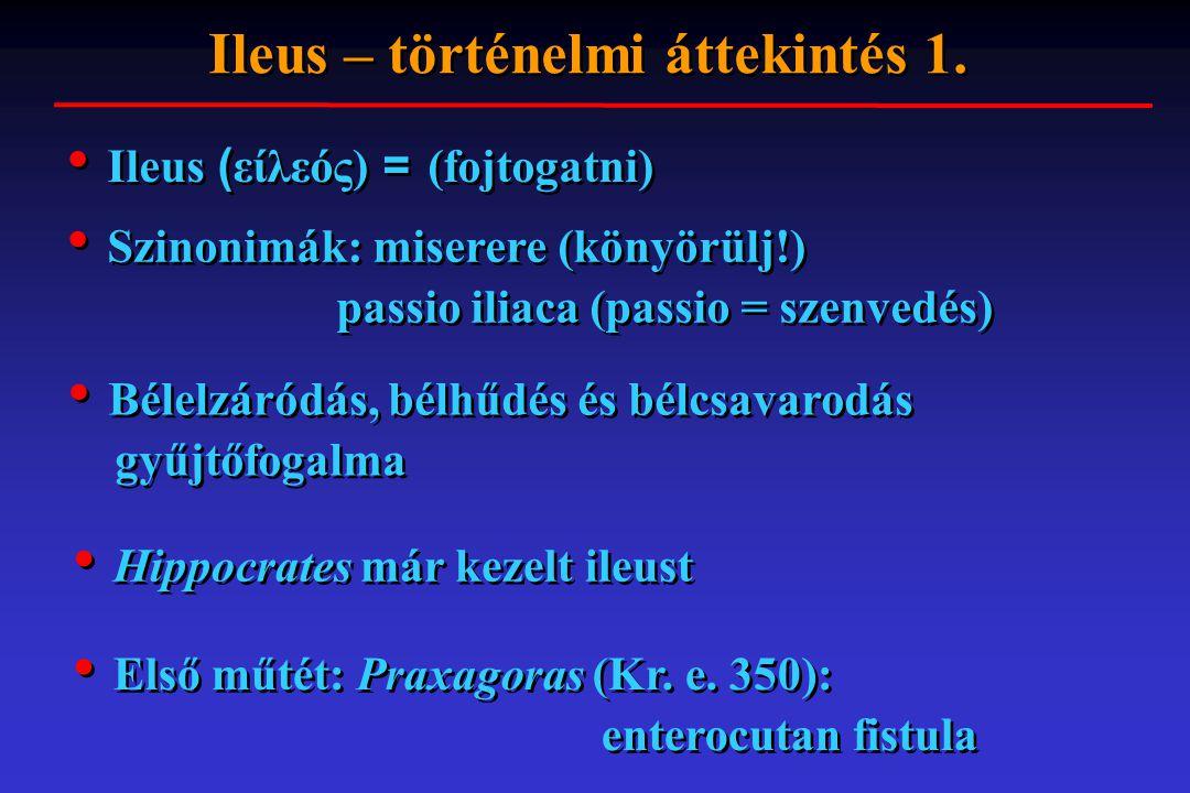 Ileus ( είλεός) = (fojtogatni) Ileus – történelmi áttekintés 1. Hippocrates már kezelt ileust Első műtét: Praxagoras (Kr. e. 350): enterocutan fistula