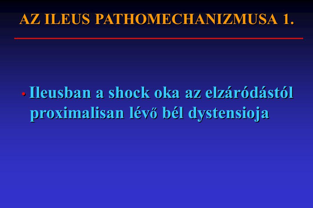 AZ ILEUS PATHOMECHANIZMUSA 1. Ileusban a shock oka az elzáródástól proximalisan lév ő bél dystensioja