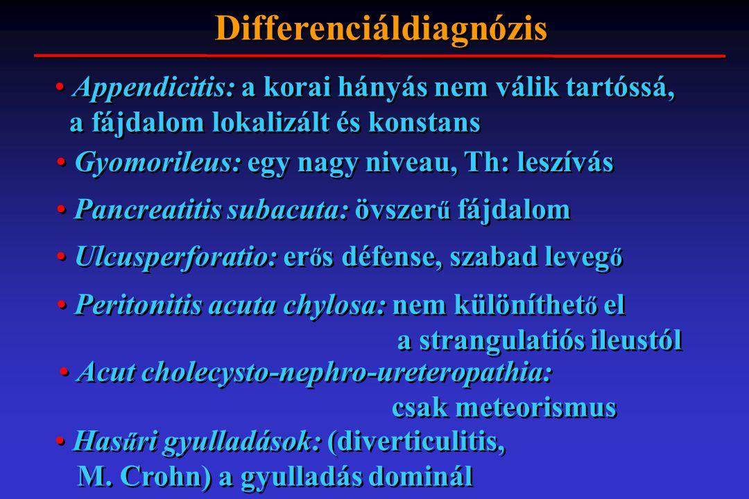 Differenciáldiagnózis Appendicitis: a korai hányás nem válik tartóssá, a fájdalom lokalizált és konstans Gyomorileus: egy nagy niveau, Th: leszívás Pa