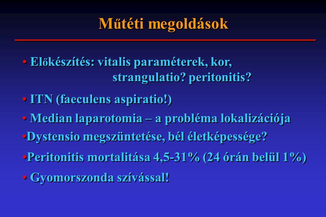 M ű téti megoldások El ő készítés: vitalis paraméterek, kor, strangulatio? peritonitis? ITN (faeculens aspiratio!) Median laparotomia – a probléma lok