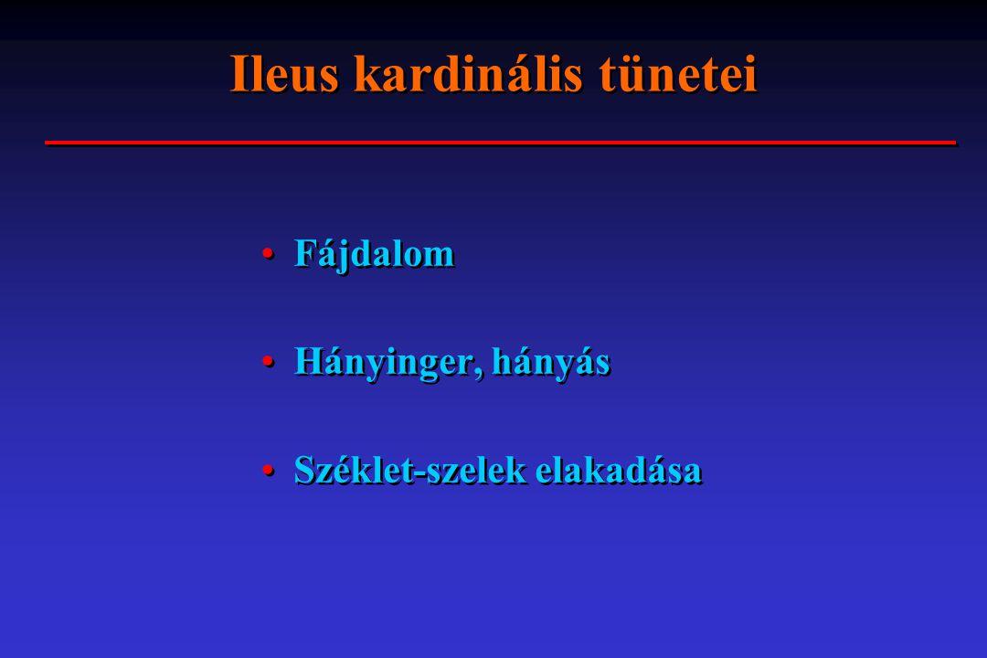 Ileus - aetiologia Ileus mechanicus Ileus dynamicus Ileus vascularis - obstructio = elzáródás, eltömeszel ő dés - destructio = szétrombol - paralyticus - spasticus