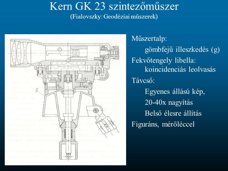 Kern GK 23 szintezőműszer (Fialovszky: Geodéziai műszerek) Műszertalp: gömbfejű illeszkedés (g) Fekvőtengely libella: koincidenciás leolvasás Távcső:
