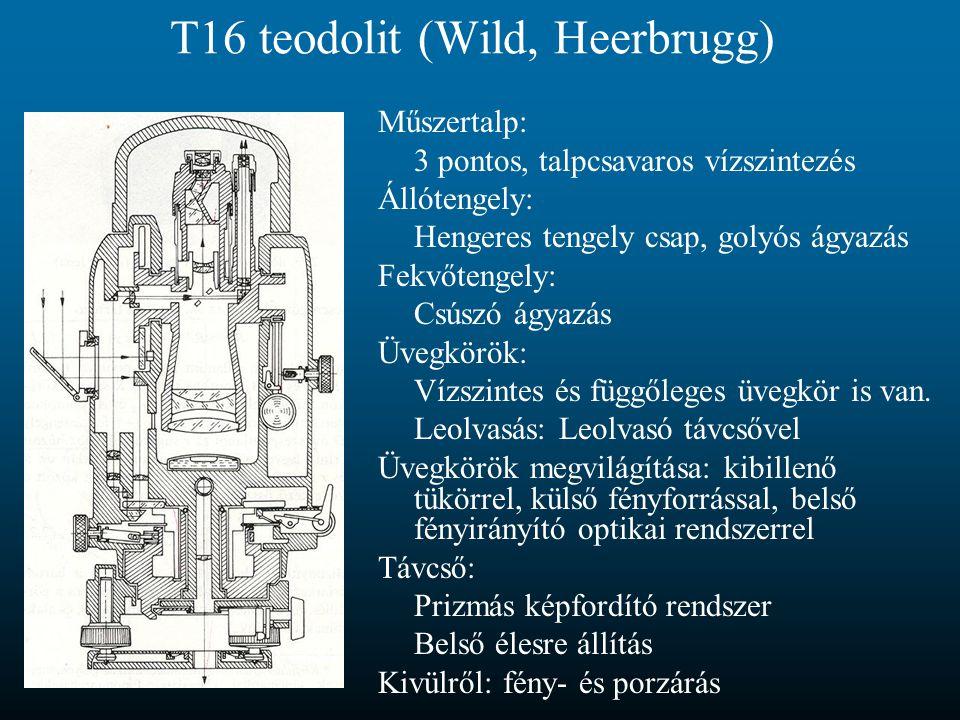 T16 teodolit (Wild, Heerbrugg) Műszertalp: 3 pontos, talpcsavaros vízszintezés Állótengely: Hengeres tengely csap, golyós ágyazás Fekvőtengely: Csúszó