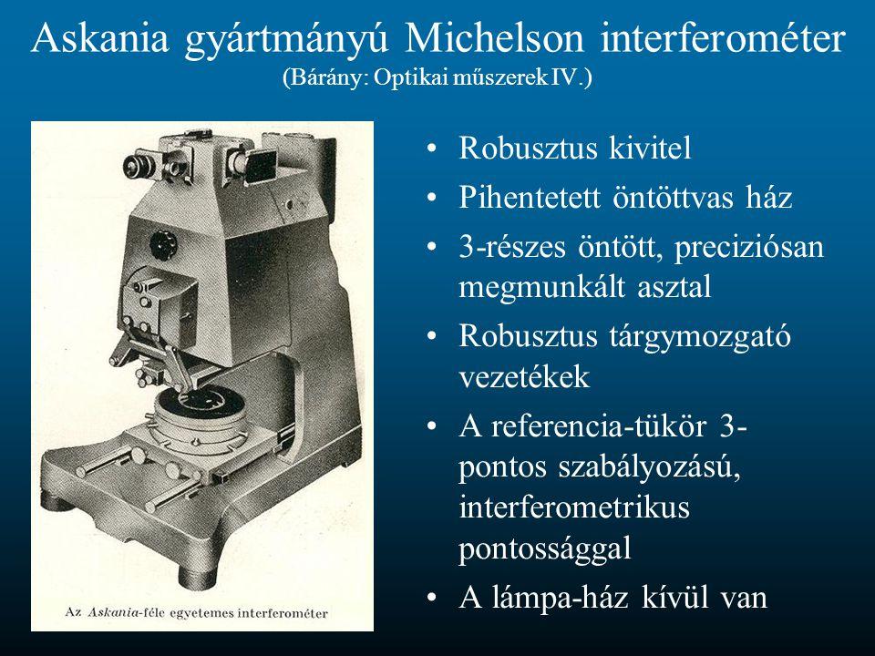 Askania gyártmányú Michelson interferométer (Bárány: Optikai műszerek IV.) Robusztus kivitel Pihentetett öntöttvas ház 3-részes öntött, preciziósan me