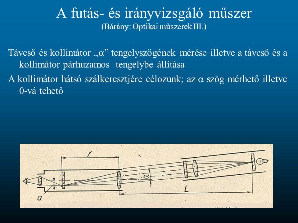 """A futás- és irányvizsgáló műszer (Bárány: Optikai műszerek III.) Távcső és kollimátor """"  """" tengelyszögének mérése illetve a távcső és a kollimátor pá"""