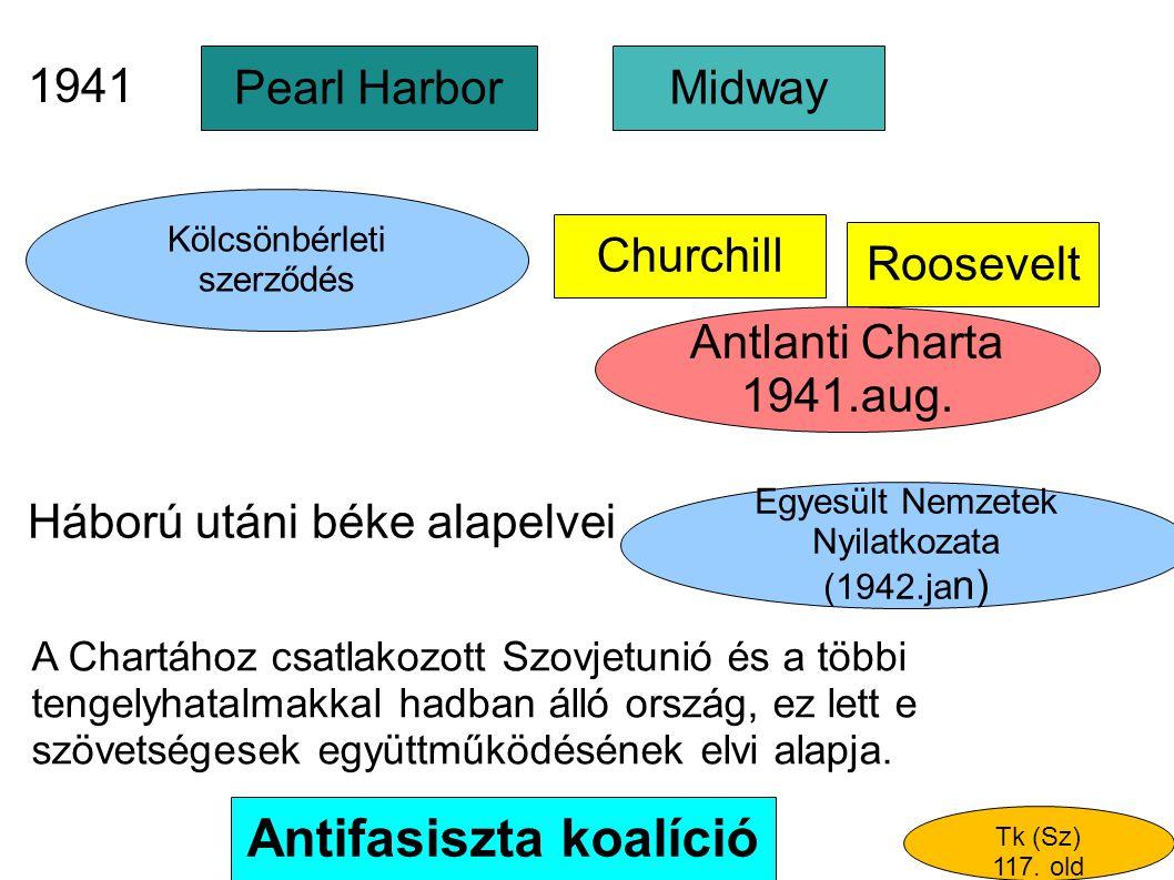 Antlanti Charta 1941.aug. Pearl Harbor Antifasiszta koalíció Churchill Midway Roosevelt Háború utáni béke alapelvei Kölcsönbérleti szerződés A Chartáh