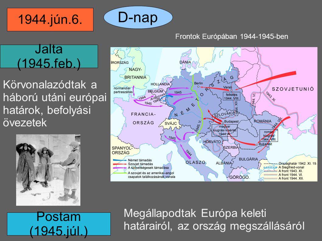 Frontok Európában 1944-1945-ben 1944.jún.6. D-nap Jalta (1945.feb.) Postam (1945.júl.) Körvonalazódtak a háború utáni európai határok, befolyási öve