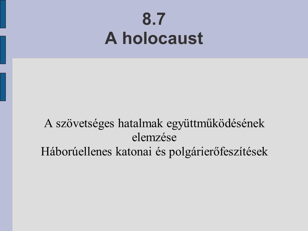 8.7 A holocaust A szövetséges hatalmak együttműködésének elemzése Háborúellenes katonai és polgárierőfeszítések