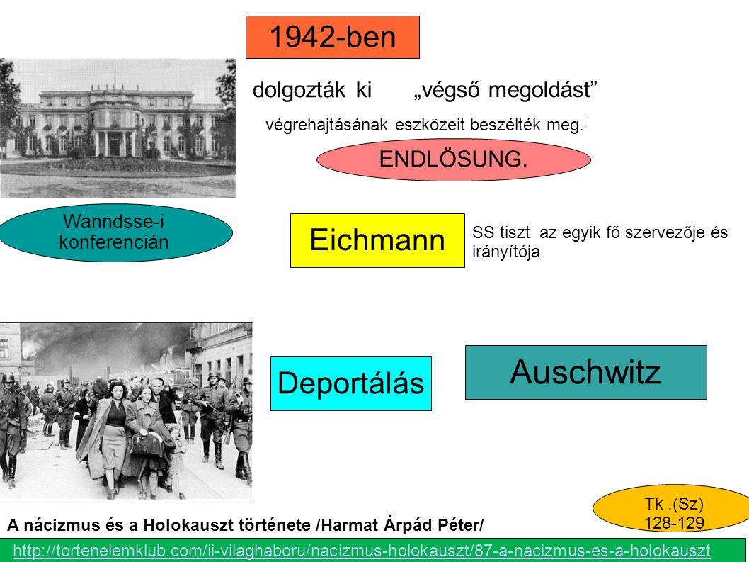 """ENDLÖSUNG. Auschwitz 1942-ben Eichmann Deportálás """"végső megoldást"""" Wanndsse-i konferencián Tk.(Sz) 128-129 dolgozták ki SS tiszt az egyik fő szervező"""