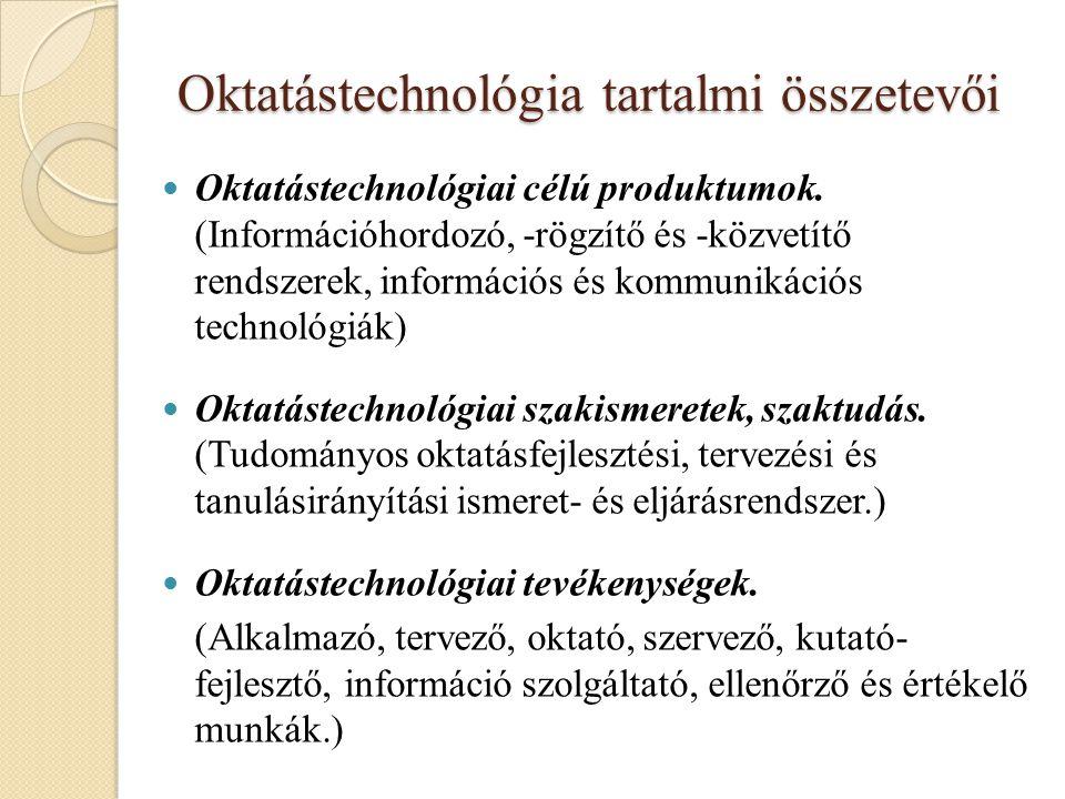 Oktatástechnológia tartalmi összetevői Oktatástechnológiai célú produktumok. (Információhordozó, -rögzítő és -közvetítő rendszerek, információs és kom