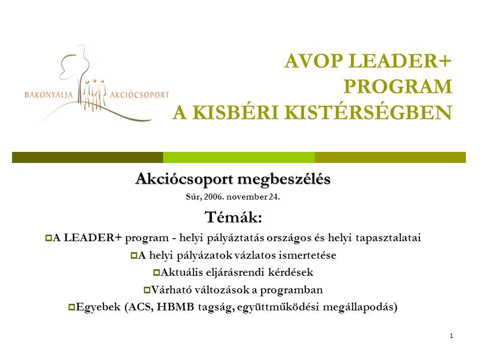 1 AVOP LEADER+ PROGRAM A KISBÉRI KISTÉRSÉGBEN Akciócsoport megbeszélés Súr, 2006.