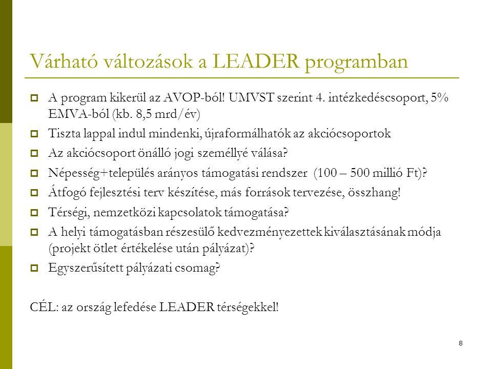 8 Várható változások a LEADER programban  A program kikerül az AVOP-ból.