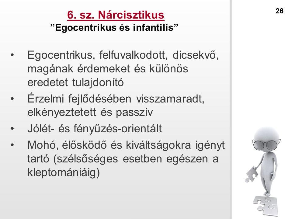 """6. sz. Nárcisztikus """"Egocentrikus és infantilis"""" Egocentrikus, felfuvalkodott, dicsekvő, magának érdemeket és különös eredetet tulajdonító Érzelmi fej"""