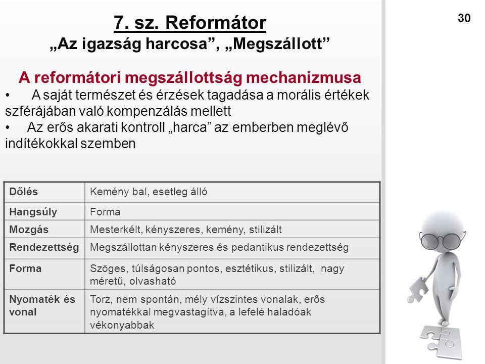 """7. sz. Reformátor """"Az igazság harcosa"""", """"Megszállott"""" A reformátori megszállottság mechanizmusa A saját természet és érzések tagadása a morális értéke"""