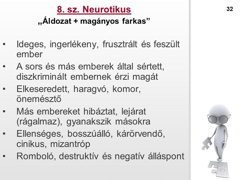 """8. sz. Neurotikus """" Áldozat + magányos farkas"""" Ideges, ingerlékeny, frusztrált és feszült ember A sors és más emberek által sértett, diszkriminált emb"""
