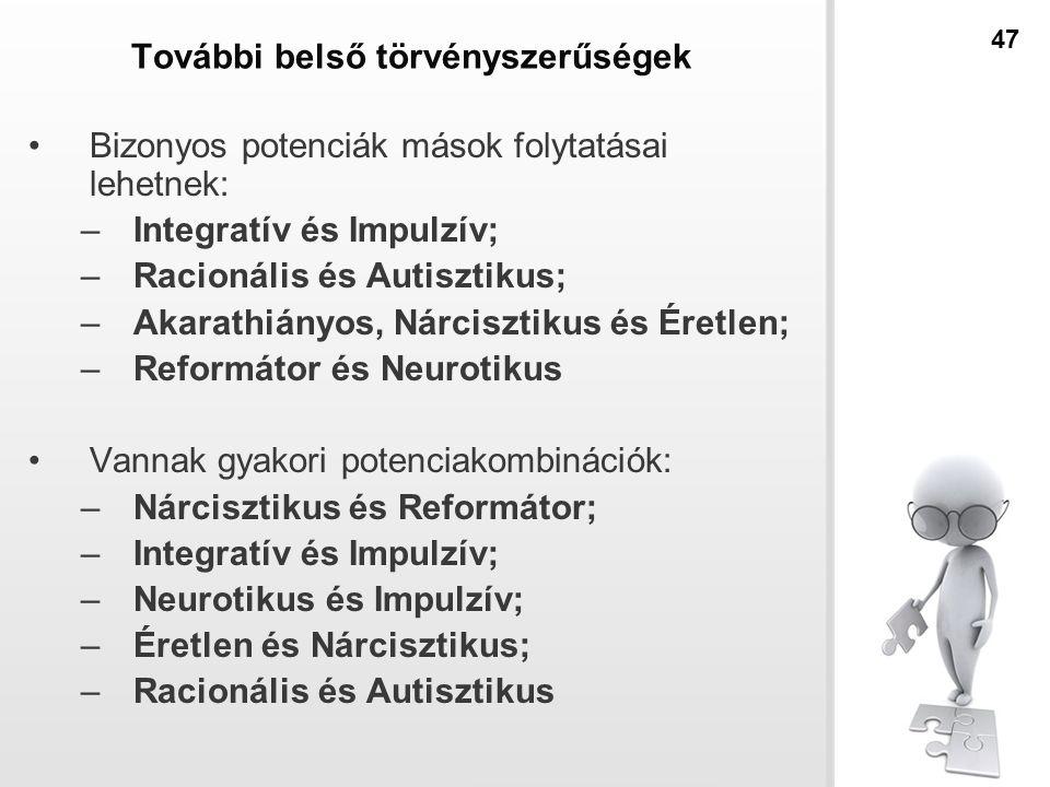 További belső törvényszerűségek Bizonyos potenciák mások folytatásai lehetnek: –Integratív és Impulzív; –Racionális és Autisztikus; –Akarathiányos, Nárcisztikus és Éretlen; –Reformátor és Neurotikus Vannak gyakori potenciakombinációk: –Nárcisztikus és Reformátor; –Integratív és Impulzív; –Neurotikus és Impulzív; –Éretlen és Nárcisztikus; –Racionális és Autisztikus 47