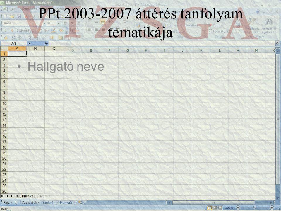 PPt 2003-2007 áttérés tanfolyam tematikája Hallgató neve