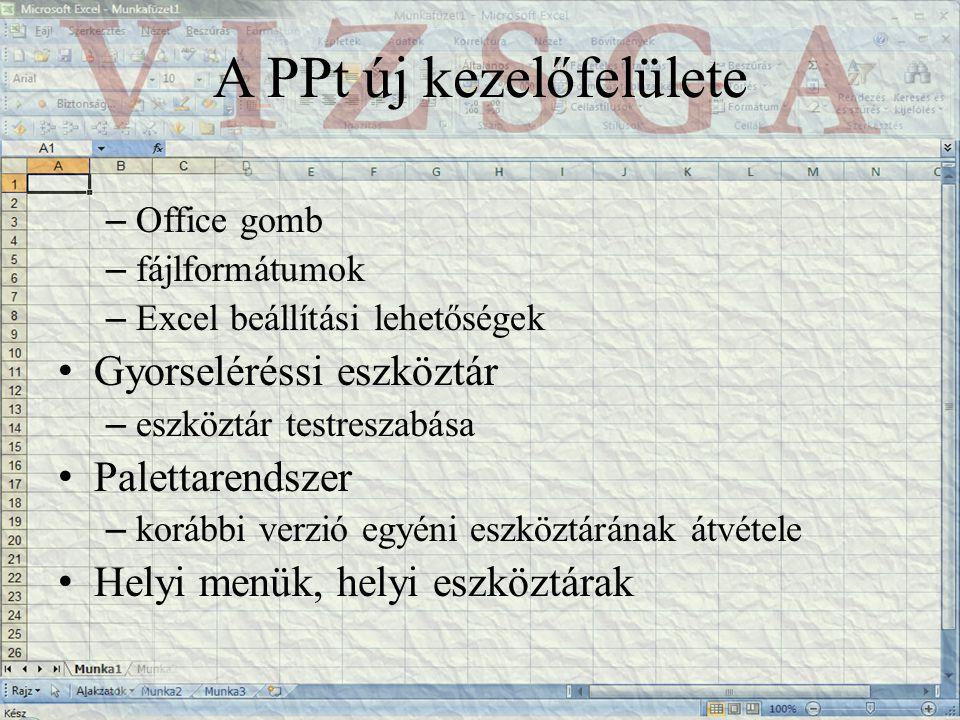 A PPt új kezelőfelülete – Office gomb – fájlformátumok – Excel beállítási lehetőségek Gyorseléréssi eszköztár – eszköztár testreszabása Palettarendszer – korábbi verzió egyéni eszköztárának átvétele Helyi menük, helyi eszköztárak