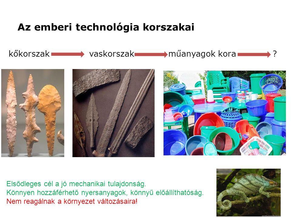 Az emberi technológia korszakai kőkorszak vaskorszak műanyagok kora .