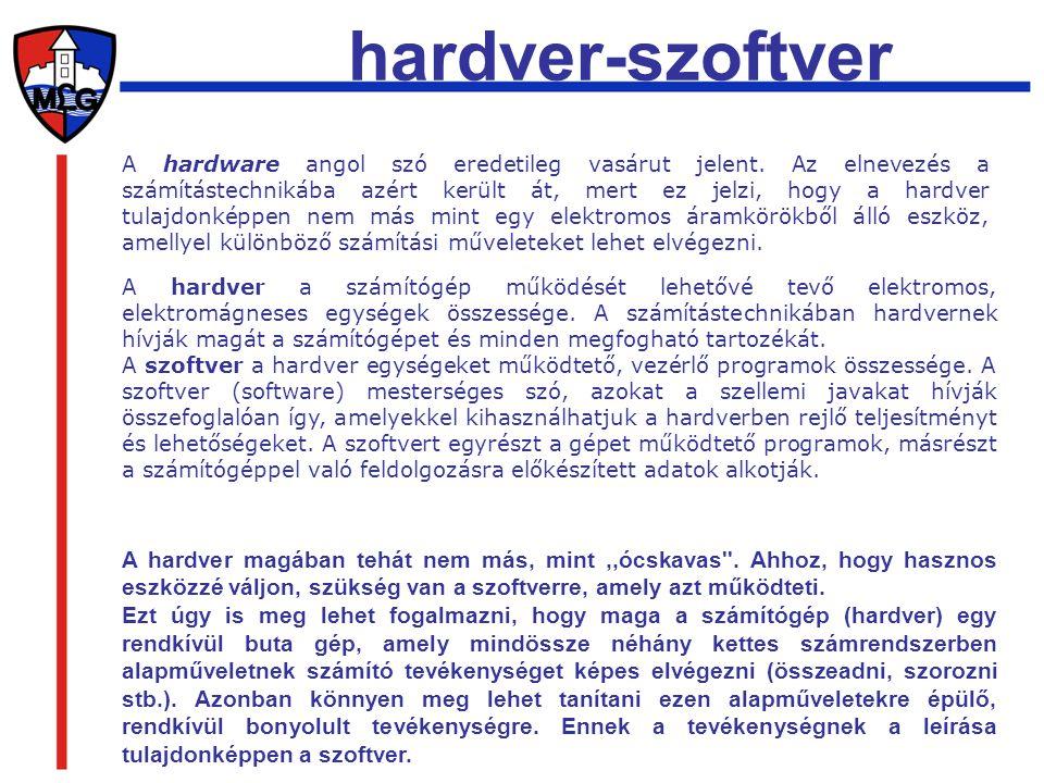 A hardware angol szó eredetileg vasárut jelent. Az elnevezés a számítástechnikába azért került át, mert ez jelzi, hogy a hardver tulajdonképpen nem má