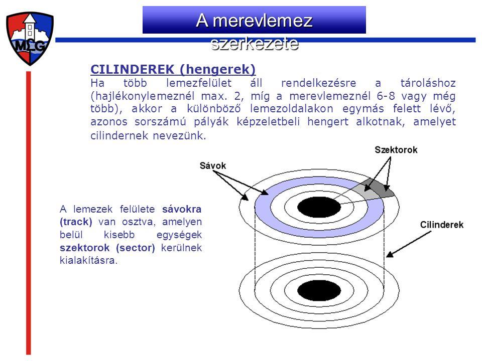 CILINDEREK (hengerek) Ha több lemezfelület áll rendelkezésre a tároláshoz (hajlékonylemeznél max. 2, míg a merevlemeznél 6-8 vagy még több), akkor a k