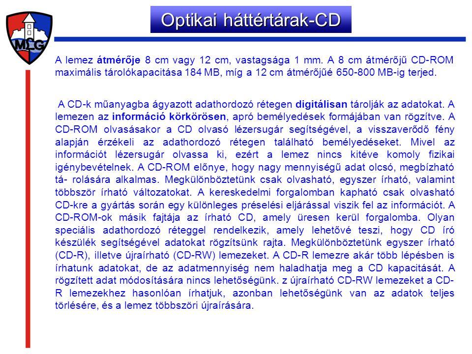 A lemez átmérője 8 cm vagy 12 cm, vastagsága 1 mm. A 8 cm átmérőjű CD-ROM maximális tárolókapacitása 184 MB, míg a 12 cm átmérőjűé 650-800 MB-ig terje