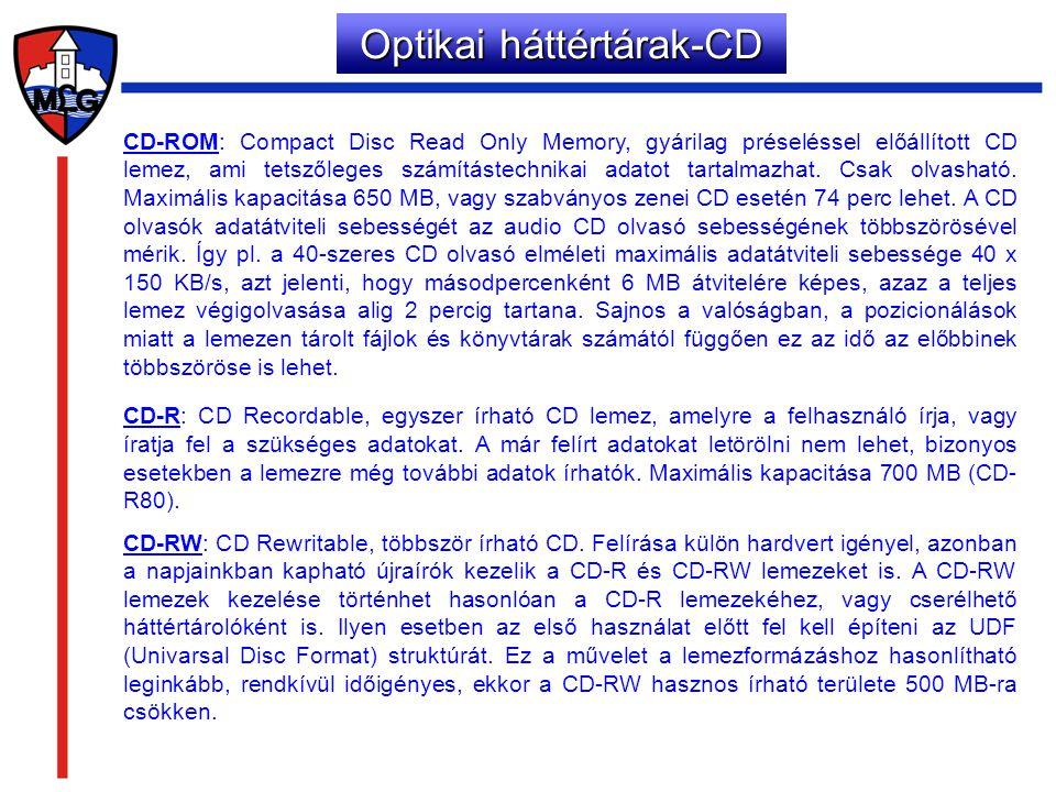 CD-ROM: Compact Disc Read Only Memory, gyárilag préseléssel előállított CD lemez, ami tetszőleges számítástechnikai adatot tartalmazhat. Csak olvashat