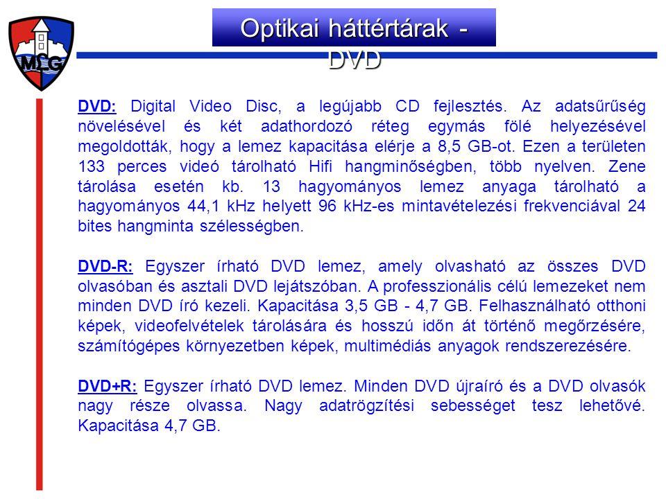 DVD: Digital Video Disc, a legújabb CD fejlesztés. Az adatsűrűség növelésével és két adathordozó réteg egymás fölé helyezésével megoldották, hogy a le
