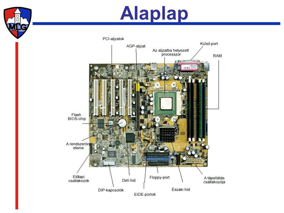 Slot-ok: az alaplapon levő csatlakozók, amelyek segítségével a gép többi eleme egy kontrollernek (vezérlő kártyának) nevezett áramkörrel az alaplaphoz csatlakozik.