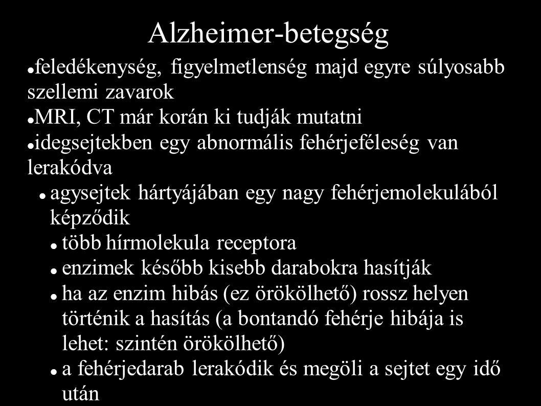 Alzheimer-betegség feledékenység, figyelmetlenség majd egyre súlyosabb szellemi zavarok MRI, CT már korán ki tudják mutatni idegsejtekben egy abnormális fehérjeféleség van lerakódva agysejtek hártyájában egy nagy fehérjemolekulából képződik több hírmolekula receptora enzimek később kisebb darabokra hasítják ha az enzim hibás (ez örökölhető) rossz helyen történik a hasítás (a bontandó fehérje hibája is lehet: szintén örökölhető) a fehérjedarab lerakódik és megöli a sejtet egy idő után