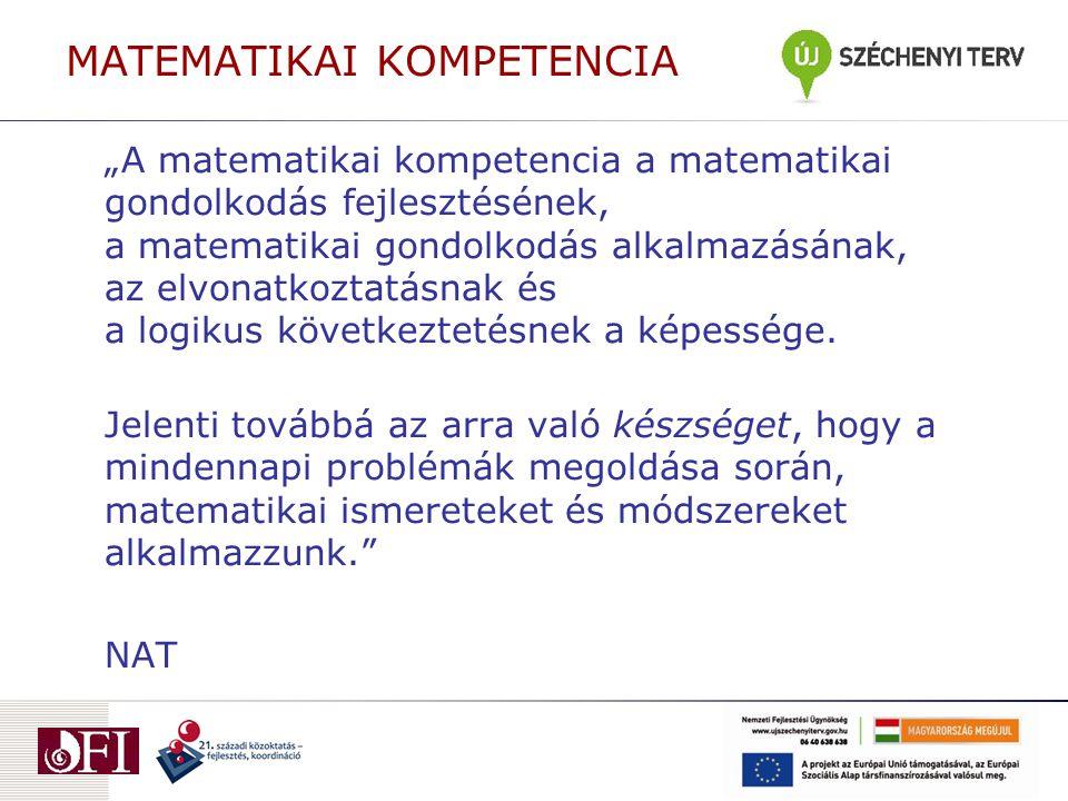 """MATEMATIKAI KOMPETENCIA """"A matematikai kompetencia a matematikai gondolkodás fejlesztésének, a matematikai gondolkodás alkalmazásának, az elvonatkozta"""