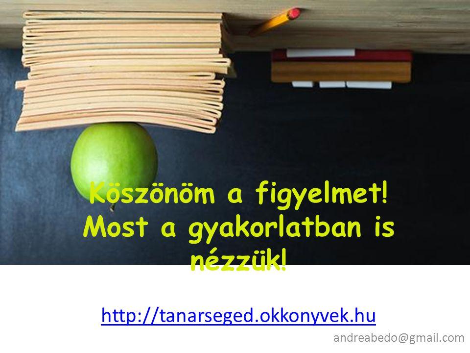 Köszönöm a figyelmet! Most a gyakorlatban is nézzük! http://tanarseged.okkonyvek.hu http://tanarseged.okkonyvek.hu andreabedo@gmail.com