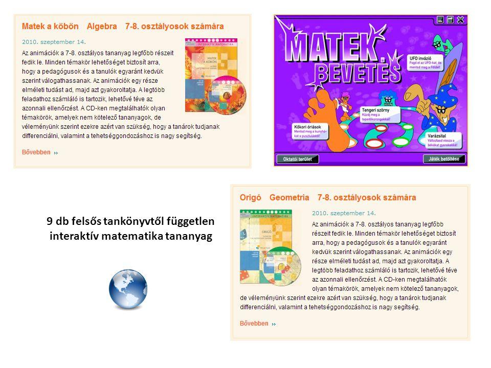 3 db középiskolás tankönyvtől független interaktív matematika tananyag