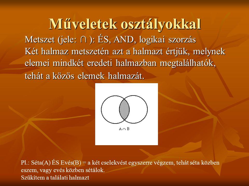 Metszet (jele: ∩ ): ÉS, AND, logikai szorzás Két halmaz metszetén azt a halmazt értjük, melynek elemei mindkét eredeti halmazban megtalálhatók, tehát