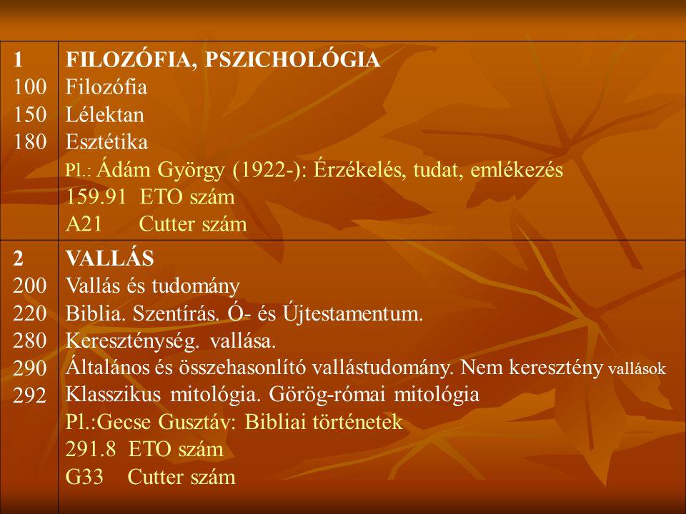 1 100 150 180 FILOZÓFIA, PSZICHOLÓGIA Filozófia Lélektan Esztétika Pl.: Ádám György (1922-): Érzékelés, tudat, emlékezés 159.91 ETO szám A21 Cutter sz