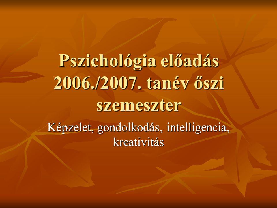 Pszichológia előadás 2006./2007. tanév őszi szemeszter Képzelet, gondolkodás, intelligencia, kreativitás