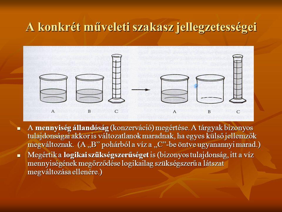 A konkrét műveleti szakasz jellegzetességei A mennyiség állandóság (konzerváció) megértése. A tárgyak bizonyos tulajdonságai akkor is változatlanok ma