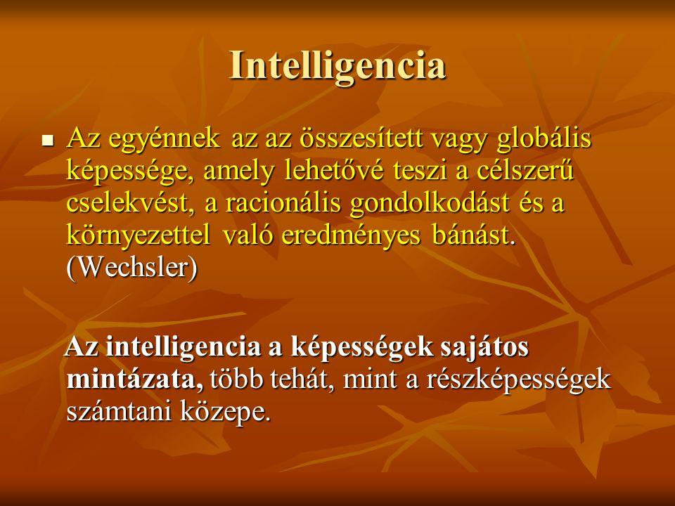 Intelligencia Az egyénnek az az összesített vagy globális képessége, amely lehetővé teszi a célszerű cselekvést, a racionális gondolkodást és a környe