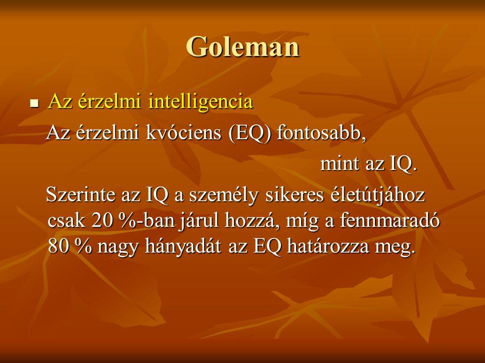 Goleman Az érzelmi intelligencia Az érzelmi intelligencia Az érzelmi kvóciens (EQ) fontosabb, Az érzelmi kvóciens (EQ) fontosabb, mint az IQ. Szerinte
