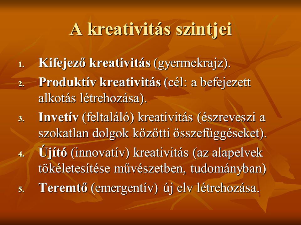 A kreativitás szintjei 1. Kifejező kreativitás (gyermekrajz). 2. Produktív kreativitás (cél: a befejezett alkotás létrehozása). 3. Invetív (feltaláló)