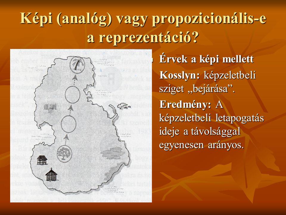 """Képi (analóg) vagy propozicionális-e a reprezentáció? Érvek a képi mellett Érvek a képi mellett Kosslyn: képzeletbeli sziget """"bejárása"""". Kosslyn: képz"""
