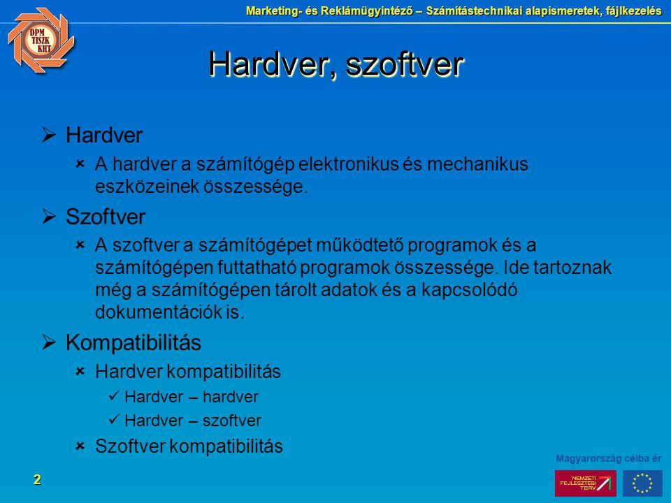 Marketing- és Reklámügyintéző – Számítástechnikai alapismeretek, fájlkezelés 2 Hardver, szoftver  Hardver  A hardver a számítógép elektronikus és mechanikus eszközeinek összessége.