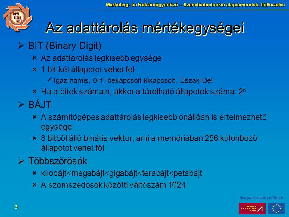 Marketing- és Reklámügyintéző – Számítástechnikai alapismeretek, fájlkezelés 3 Az adattárolás mértékegységei  BIT (Binary Digit)  Az adattárolás leg