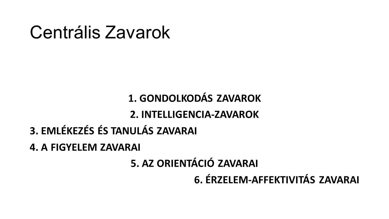 Centrális Zavarok 1.GONDOLKODÁS ZAVAROK 2. INTELLIGENCIA-ZAVAROK 3.