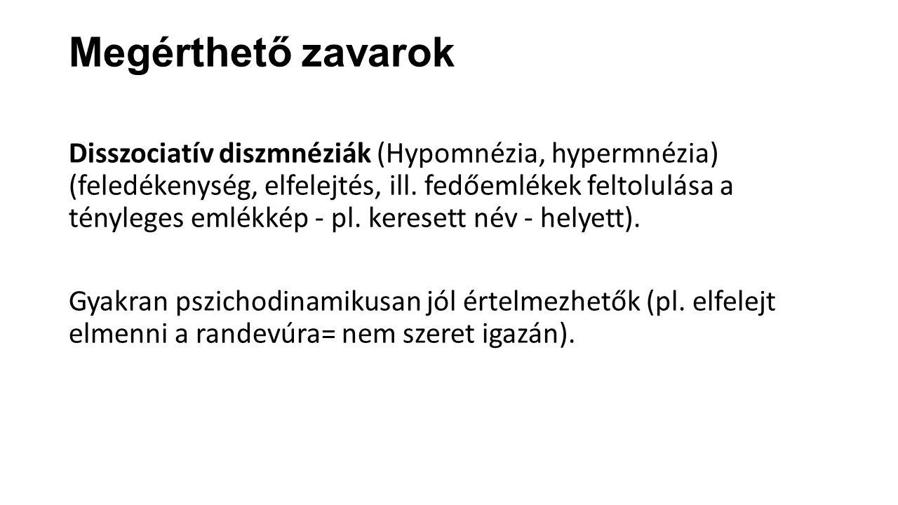 Megérthető zavarok Disszociatív diszmnéziák (Hypomnézia, hypermnézia) (feledékenység, elfelejtés, ill.