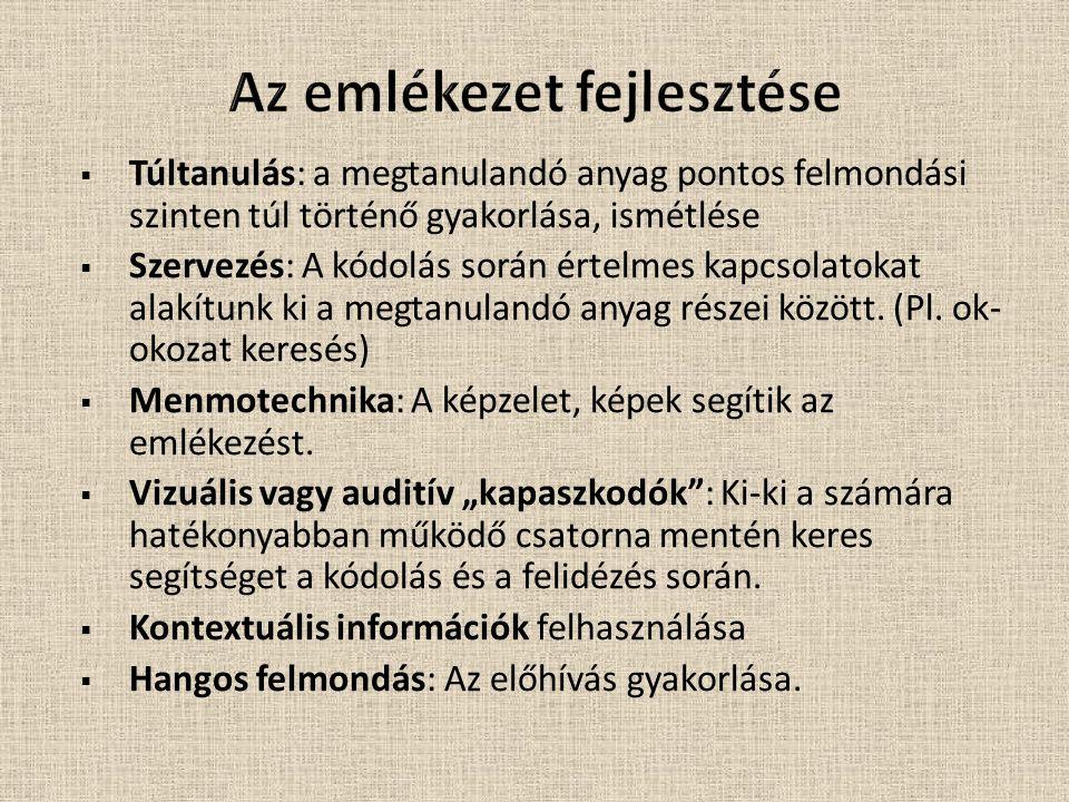 Emlékezet Explicit (deklaratív) Epizodikus Pl.: személyes emlékek Szemantikus Pl.: tények, ismeretek Implicit (nem deklaratív) Készségek Pl.: kerékpározás Előfeszítés Pl.: töredékkieg.