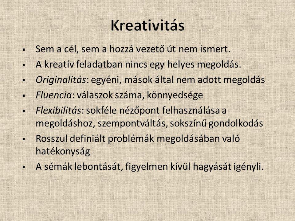  Sem a cél, sem a hozzá vezető út nem ismert. A kreatív feladatban nincs egy helyes megoldás.